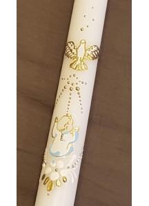 Ręcznie zdobiona świeca do chrztu ze złoto-niebieskim zdobieniem