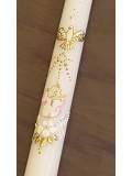Ręcznie zdobiona świeca do chrztu - ze złota zdobieniem i różowym akcentem