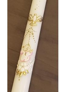 Ręcznie zdobiona świeca do chrztu - ze złotym zdobieniem i różowym akcentem