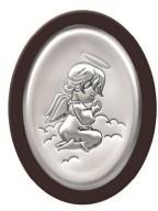 Srebrny Obrazek z Aniołkiem -na ciemnym drewienku