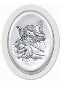 Srebrny Obrazek z Aniołkiem   10x13 cm