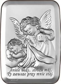 Srebrny Obrazek - Aniele Boży 1