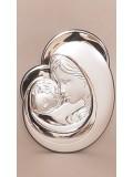 Matka Boska- srebrny obrazek DUŻY ROZMIAR 12,6x17 cm