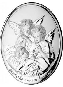 Srebrny Obrazek Pamiątka Chrztu Świętego 2 (7x9cm)