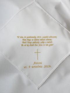 Biała Szatka do Chrztu z dowolnym haftem