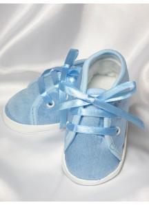 Atłasowe buciki wiązane - niebieskie