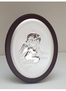 Srebrny Obrazek z Aniołkiem 10x13cm -na ciemnym drewienku