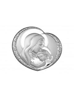 Srebrny Obrazek - Matka Boska  serduszko 13,1x12 cm