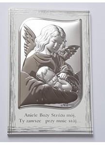Obrazek z Aniołem na malowanym drewienku 11,5 x 17,5 cm