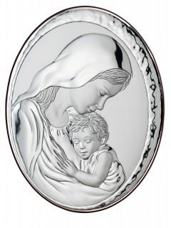 Srebrny Obrazek -Matka Boska z Dzieciątkiem  9x13cm