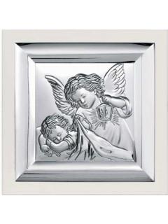 Srebrny Obrazek na białym drewienku 12x12cm