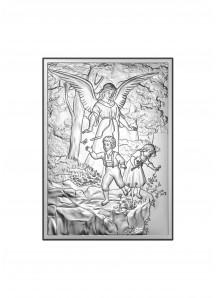 Srebrny obrazek - Anioł Stróż 13x18 cm