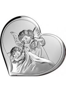 Srebrny Obrazek: Serduszko z Aniołem (11x9,6 cm)
