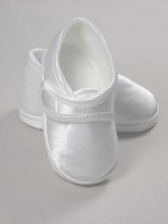 Białe atłasowe buciki na rzep