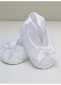 Pantofelki z szarfą-koronkowe
