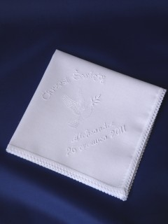 Haftowana szatka do chrztu - chusteczka [4]