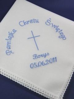 Haftowana szatka do chrztu - chusteczka [1]