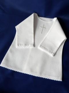 Haftowana szatka do chrztu - koszulka z koronką