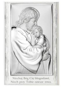 Srebrny Obrazek Jezus Chrystus 11,5 x 17,5 cm