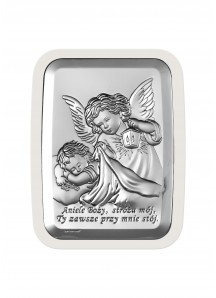 Srebrny Obrazek -Aniele Boży na Białym drewienku