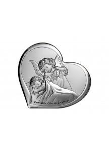 Srebrny Obrazek: Pamiątka Chrztu - Serduszko z Aniołem (11x9,6)