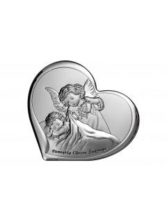 Srebrne Serduszko - Pamiątka Chrztu z Aniołem Stróżem