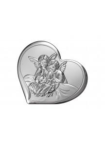 Srebrny Obrazek serduszko z Aniołami
