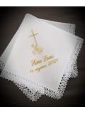 Komplet do chrztu z imieniem (K6) : szatka, świeca i profitka
